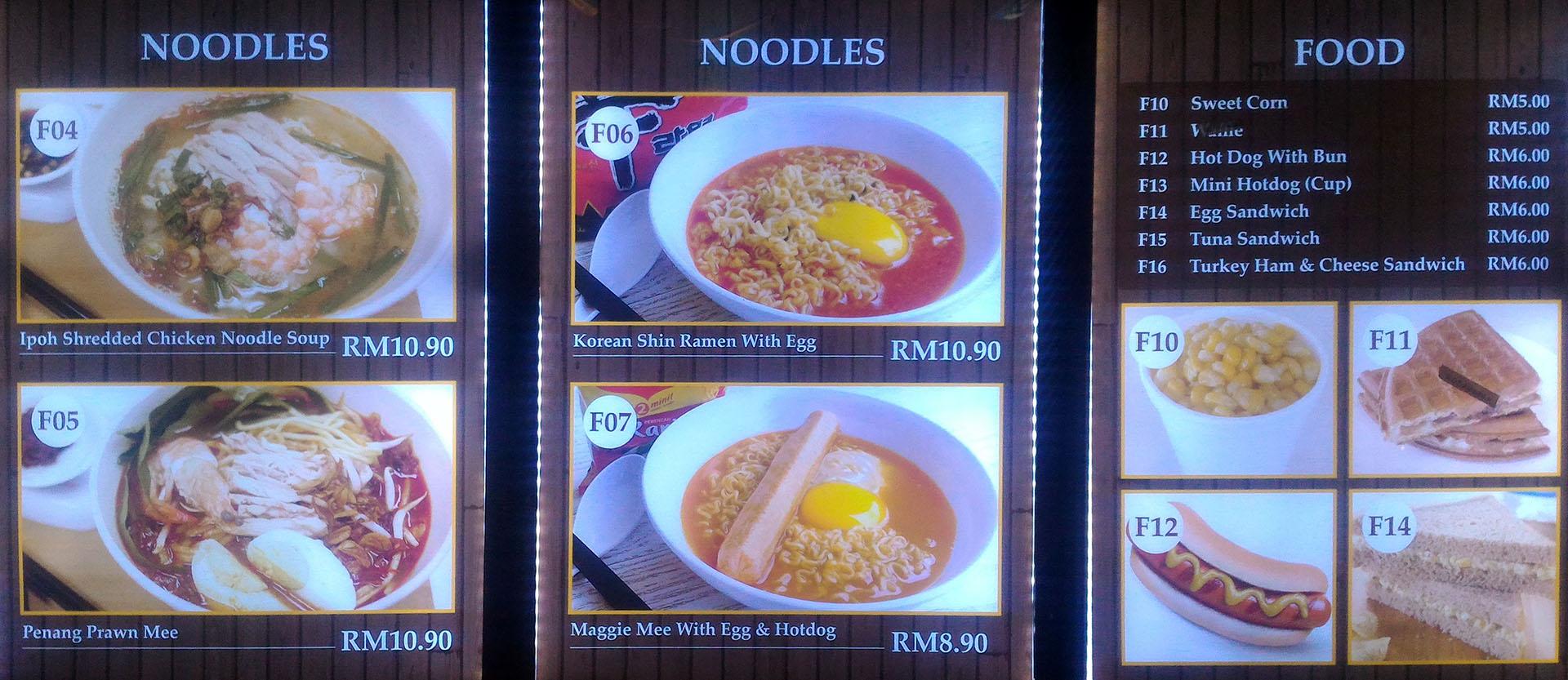 Kuala Lumpur içhatlarda yemekler